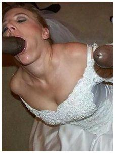 Photo sexe d'une mariée suceuse de queue